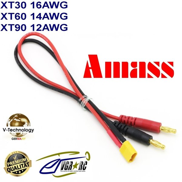 AMASS Ladekabel  XT60 Bananenstecker 4mm Adapterkabel Goldstecker 3,5mm