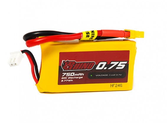 Rhino 750mAh 1S 50C Lipo Battery Pack w/XT30